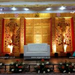 Reception stage decoration done at Samikannu Thannamal Thirumana Mahal, Puducherry