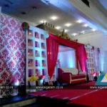 Reception stage decoration at Thamizh Thirumana Maligai, Puducherry