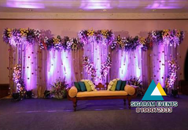 Wedding reception stage flower decoration 2 sigaram events wedding reception stage decoration junglespirit Images