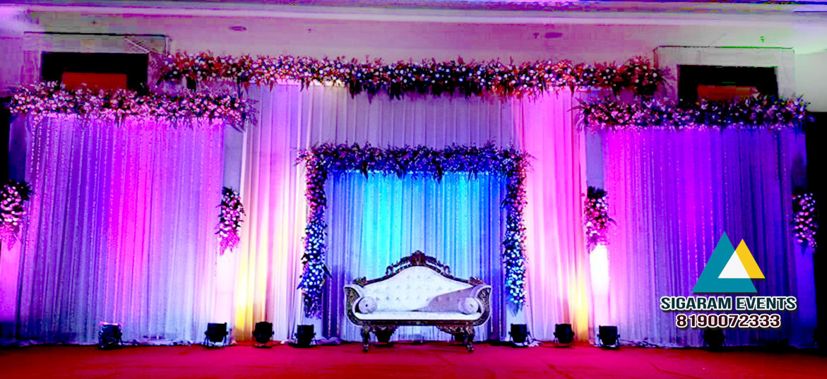 Wedding Reception Stage Flower Decoration 2 Sigaram Events