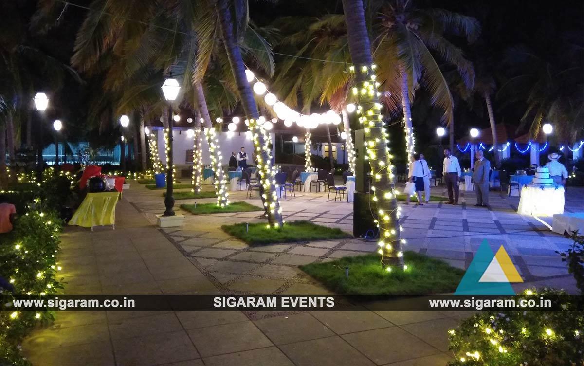 Outdoor wedding stage decoration at rkn beach resort pondicherry outdoor reception lighting decoration 6 junglespirit Gallery
