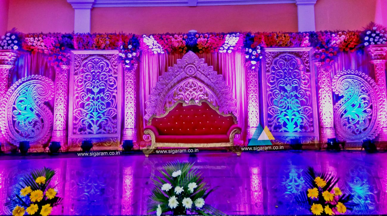 Wedding planners event management company in pondicherry for Background stage decoration