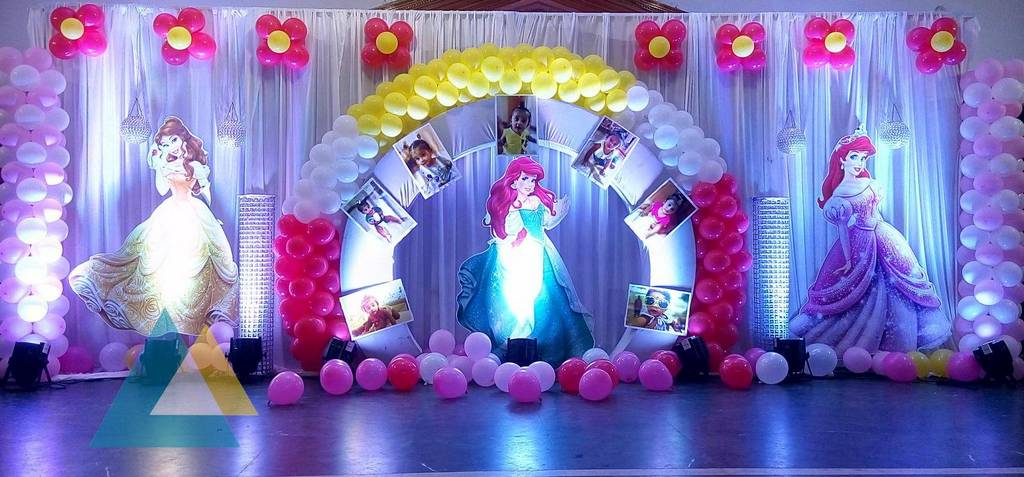 Birthday stage decoration at home image inspiration of for Balloon decoration birthday party chennai