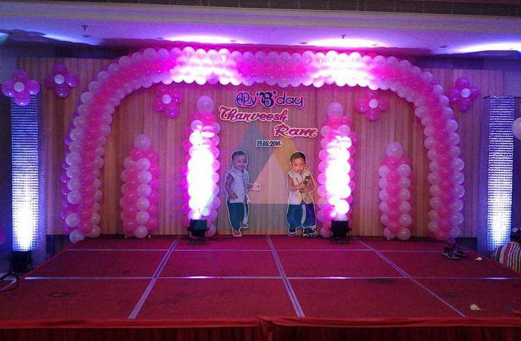 Birthday party decorators in pondicherry chennai for Balloon decoration for stage