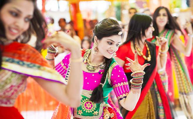 Colorful Sangeet Function Dancing