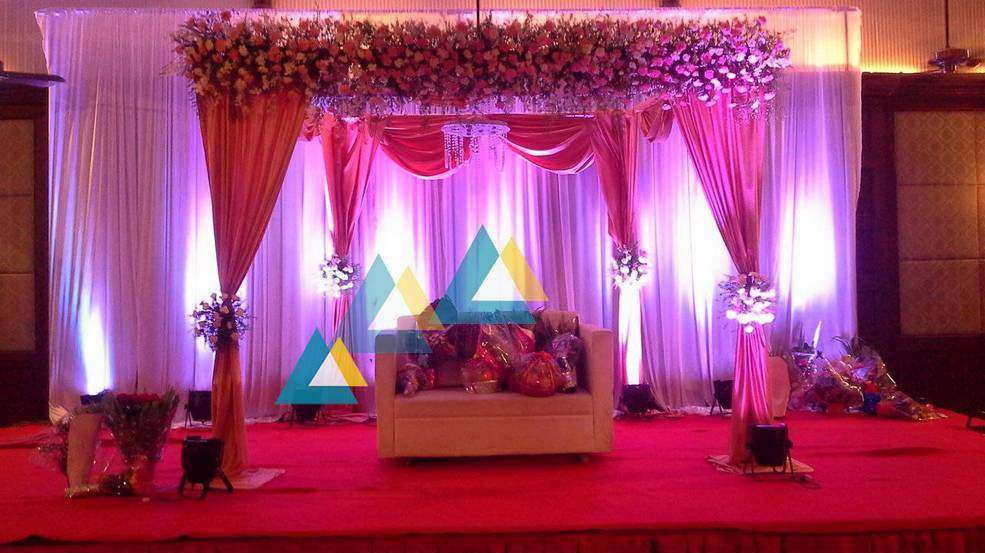 Wedding reception decorations chennai sakthi suriya for Auditorium stage decoration