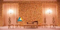 Backdrop full of Flower Decorated for Wedding Reception