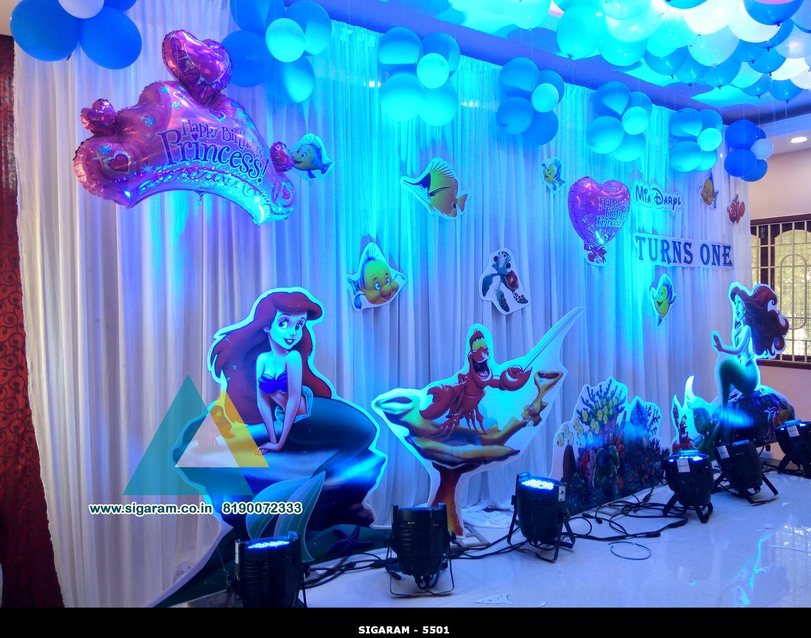 Little Mermaid Themed Birthday Decoration Celebration