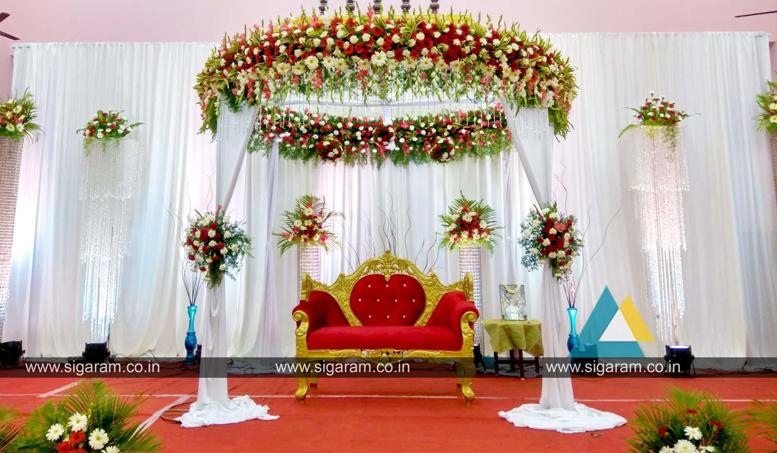 Reception reception stage decoration at Kandhan Thirumana Nilayam ...